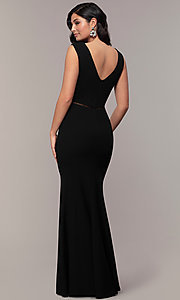 Image of mermaid-style long formal black dress by Simply. Style: LP-SD-24637 Back Image