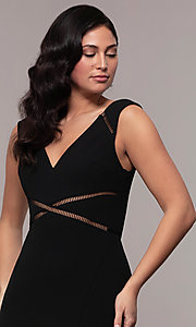 Image of mermaid-style long formal black dress by Simply. Style: LP-SD-24637 Detail Image 1