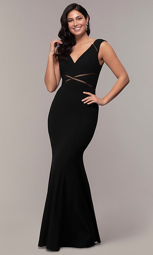 Image of mermaid-style long formal black dress by Simply. Style: LP-SD-24637 Front Image