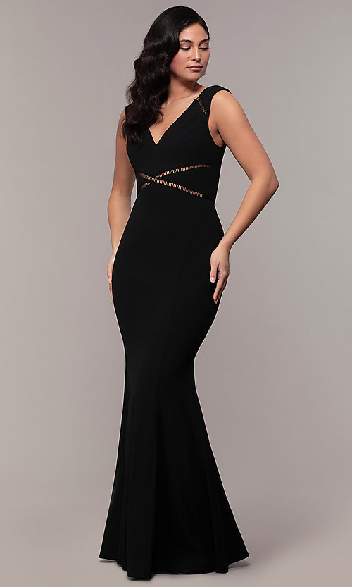 Image of mermaid-style long formal black dress by Simply. Style: LP-SD-24637 Detail Image 3