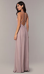 Image of open-back Simply formal gown with deep v-neckline. Style: LP-SD-25332 Detail Image 5