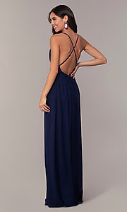 Image of open-back Simply formal gown with deep v-neckline. Style: LP-SD-25332 Back Image
