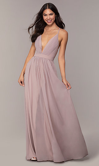 Open-Back Simply Formal Gown with Deep V-Neckline