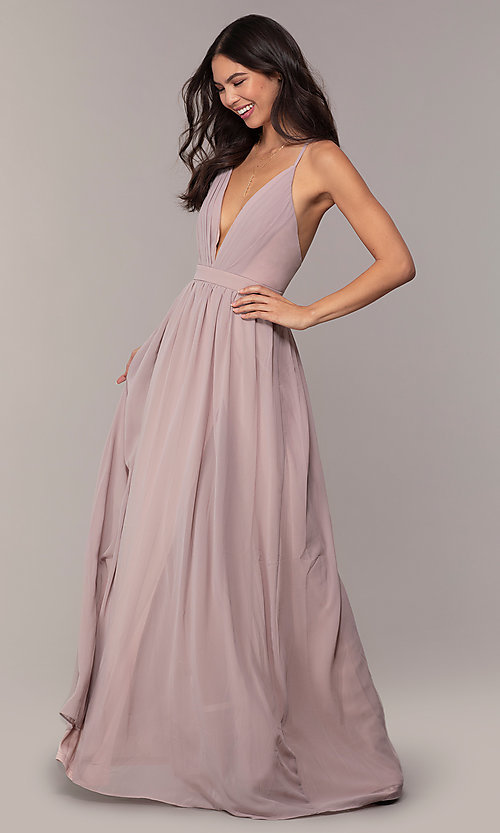Image of open-back Simply formal gown with deep v-neckline. Style: LP-SD-25332 Detail Image 3