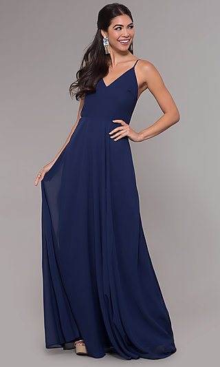 Chiffon Long Navy Prom Dress by Simply