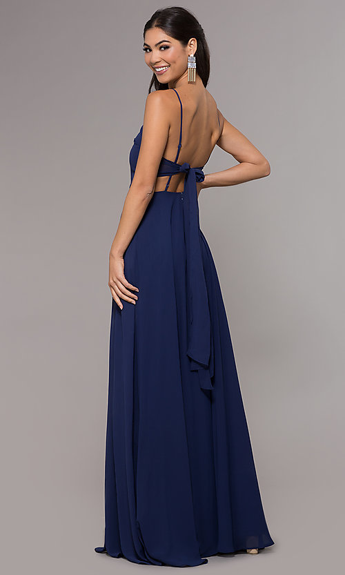 Image of chiffon long navy prom dress by Simply. Style: LP-SD-25486 Back Image