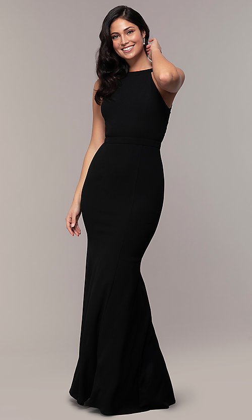 Image of high-neck long mermaid formal dress by Simply. Style: LP-SD-27866 Detail Image 4