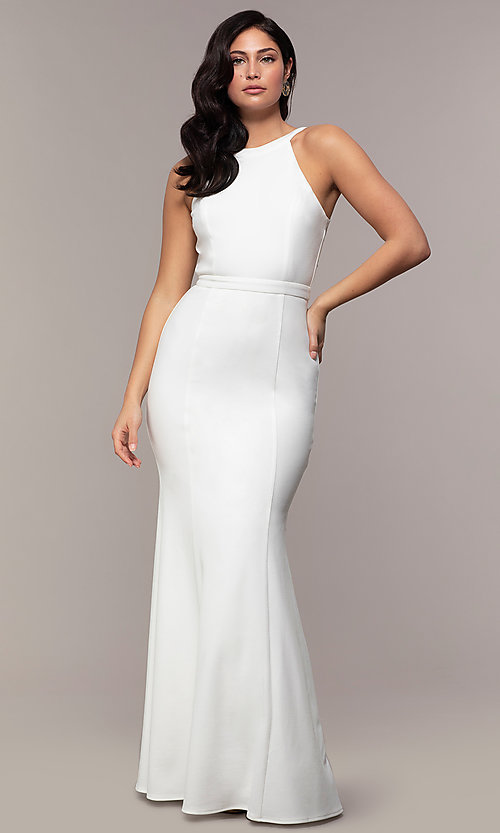 4acd4c2f04 Image of high-neck long mermaid formal dress by Simply. Style: LP-