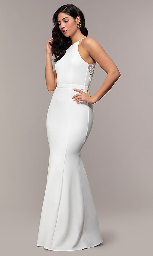 Image of high-neck long mermaid formal dress by Simply. Style: LP-SD-27866 Detail Image 3