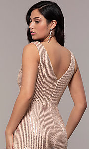 Image of long striped sequin v-neck formal dress by Simply. Style: LP-SD-26114 Detail Image 7