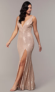 Image of long striped sequin v-neck formal dress by Simply. Style: LP-SD-26114 Detail Image 3