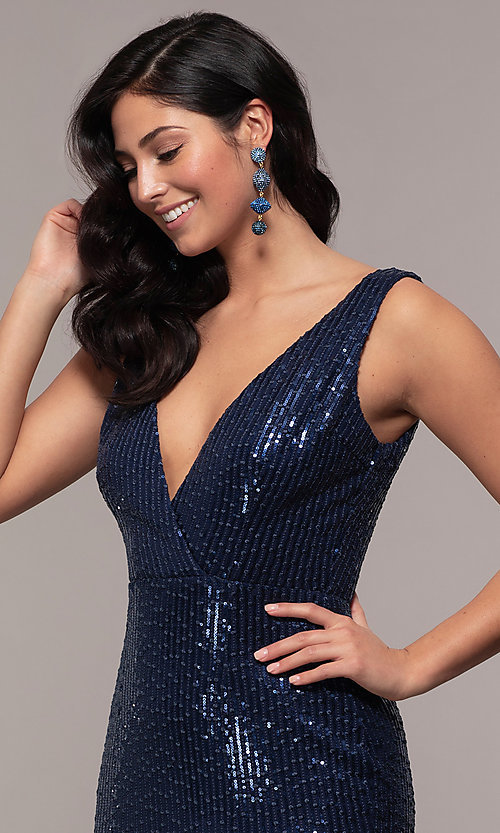 Image of long striped sequin v-neck formal dress by Simply. Style: LP-SD-26114 Detail Image 1