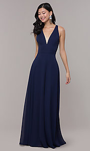 Image of navy blue long formal gown by Simply Style: LP-SD-27901 Front Image