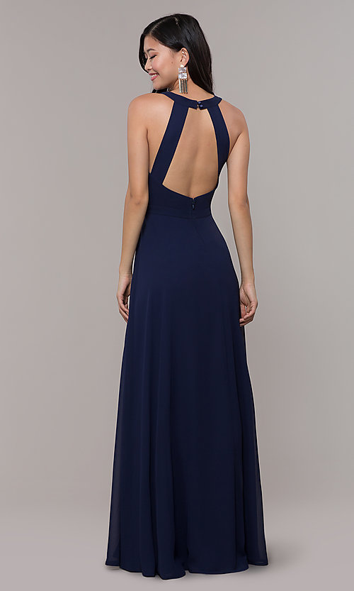 Image of navy blue long formal gown by Simply Style: LP-SD-27901 Back Image