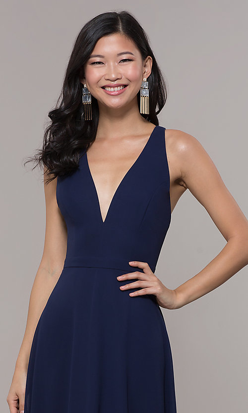 Image of navy blue long formal gown by Simply Style: LP-SD-27901 Detail Image 1