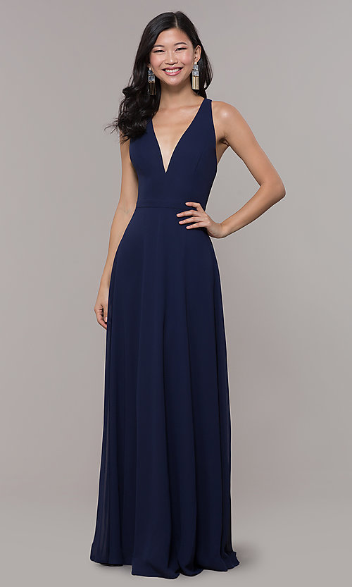 Image of navy blue long formal gown by Simply Style: LP-SD-27901 Detail Image 3