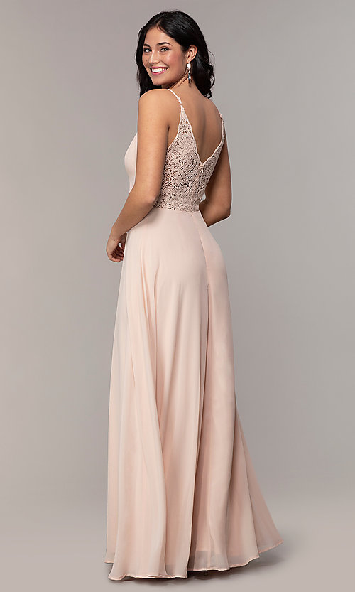 Image of v-neck lace-back long formal dress by Simply. Style: LP-SD-27845 Back Image