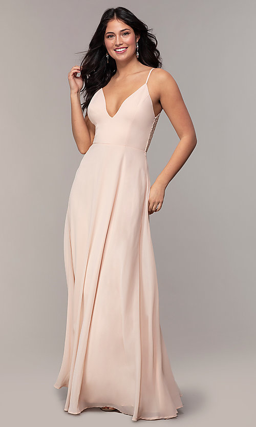 Image of v-neck lace-back long formal dress by Simply. Style: LP-SD-27845 Detail Image 3