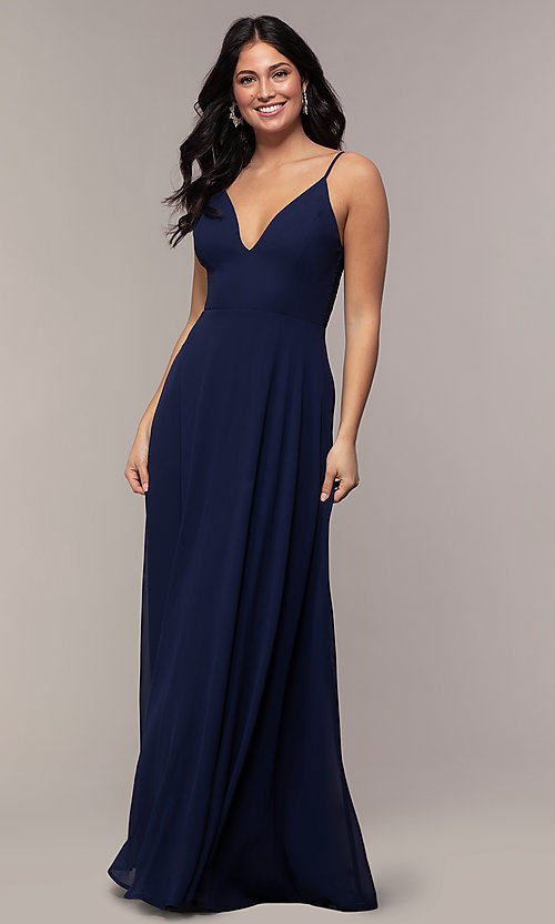 Image of v-neck lace-back long formal dress by Simply. Style: LP-SD-27845 Detail Image 4