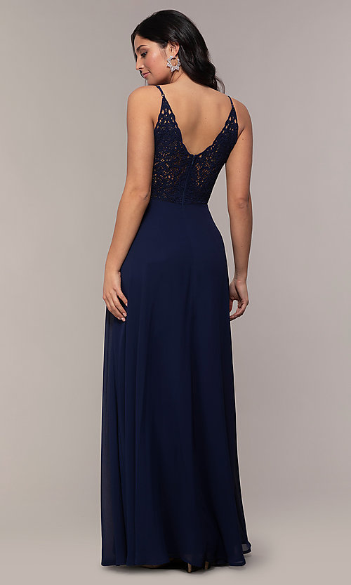 Image of v-neck lace-back long formal dress by Simply. Style: LP-SD-27845 Front Image