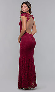 Image of short-sleeve long lace prom dress with open back. Style: CL-46421m Detail Image 4