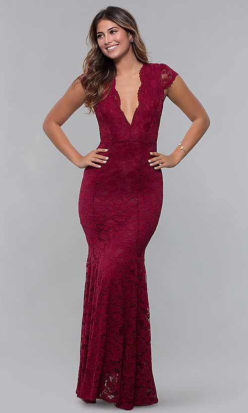 Image of short-sleeve long lace prom dress with open back. Style: CL-46421m Detail Image 3