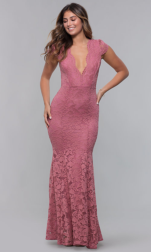 Image of v-neck mauve long lace prom dress with open back. Style: CL-46421m Front Image