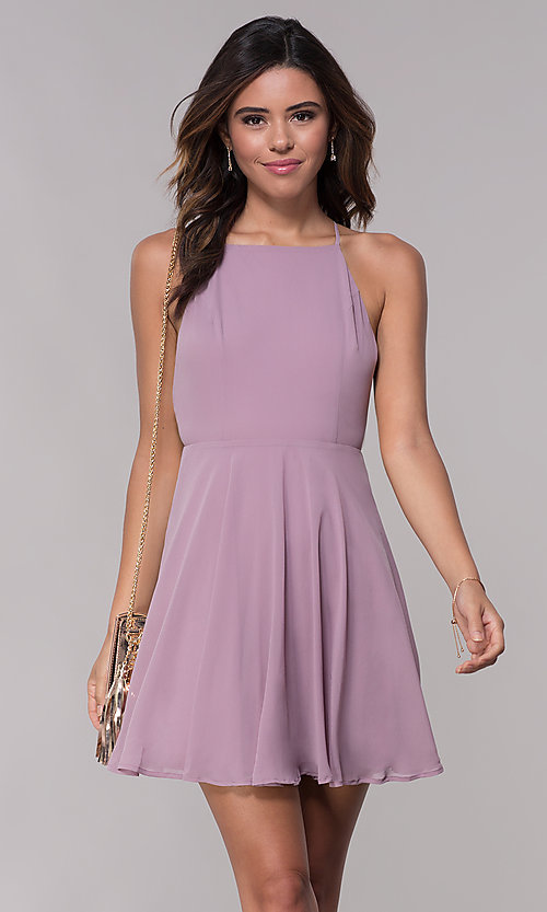 170b925ab3 Image of short mauve homecoming dress with adjustable straps. Style   LP-27723m Front