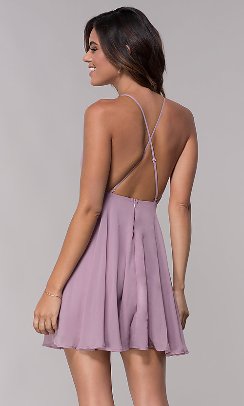 56fe665a3c Image of short mauve homecoming dress with adjustable straps. Style   LP-27723m Back