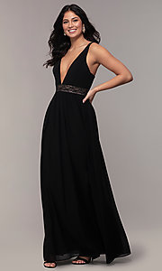 Image of caged-back long v-neck Simply black dress for prom. Style: LP-SD-25847 Front Image