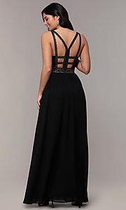Image of caged-back long v-neck Simply black dress for prom. Style: LP-SD-25847 Back Image