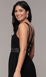 Image of caged-back long v-neck Simply black dress for prom. Style: LP-SD-25847 Detail Image 2