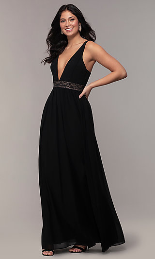 c65a77c9a49 Caged-Back Long V-Neck Simply Black Dress for Prom