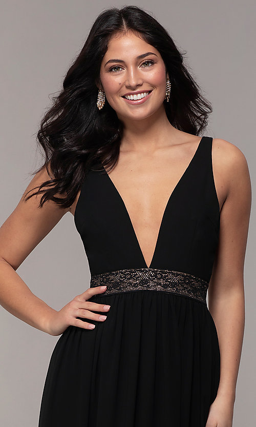 Image of caged-back long v-neck Simply black dress for prom. Style: LP-SD-25847 Detail Image 1