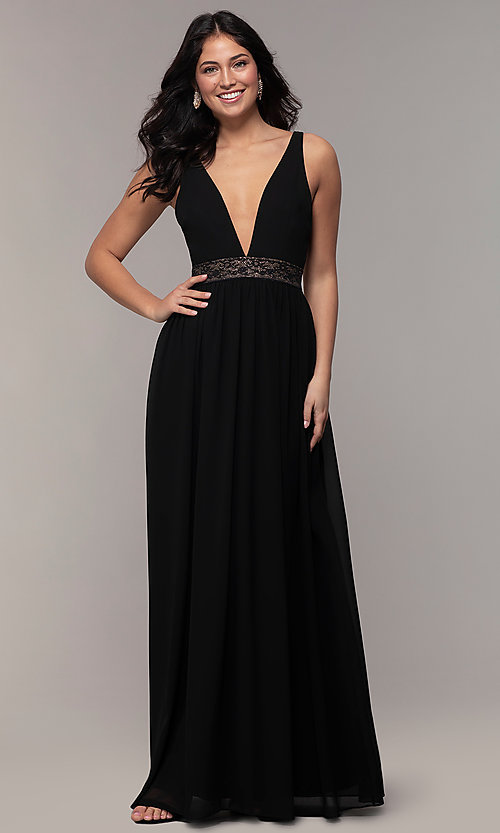 Image of caged-back long v-neck Simply black dress for prom. Style: LP-SD-25847 Detail Image 3