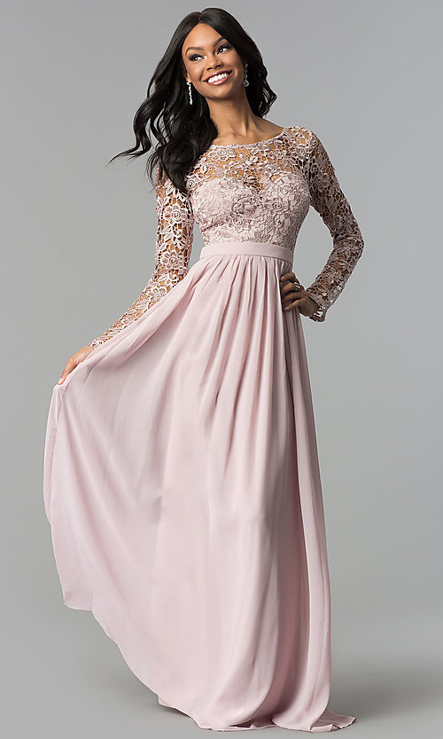 e6dbcfb01f Image of mauve long-sleeve long prom dress with corset back. Style: LP