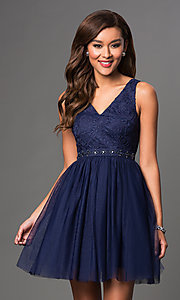 Image of mauve short homecoming dress with embroidered bodice. Style: LP-23005m Detail Image 1