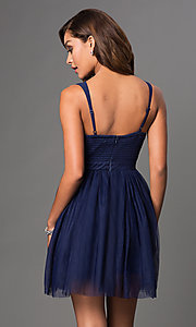 Image of mauve short homecoming dress with embroidered bodice. Style: LP-23005m Back Image