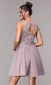 Image of chiffon short homecoming party dress with beads. Style: FB-GS1623m Back Image
