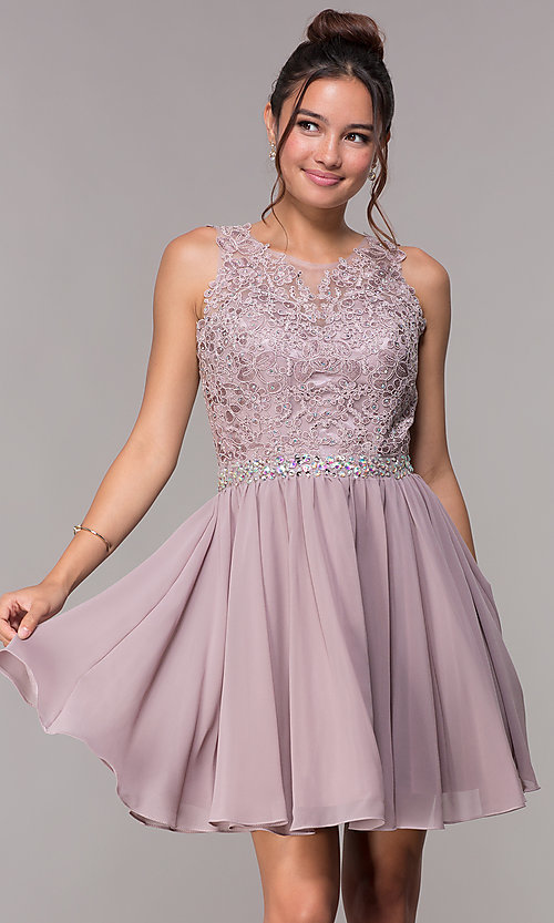 Image of chiffon short homecoming party dress with beads. Style: FB-GS1623m Detail Image 2