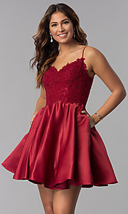 Image of short dusty rose pink homecoming dress with pockets. Style: DQ-3037dr Detail Image 3