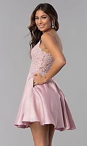 Image of short dusty rose pink homecoming dress with pockets. Style: DQ-3037dr Front Image