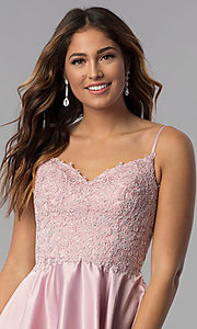 Image of short dusty rose pink homecoming dress with pockets. Style: DQ-3037dr Detail Image 1