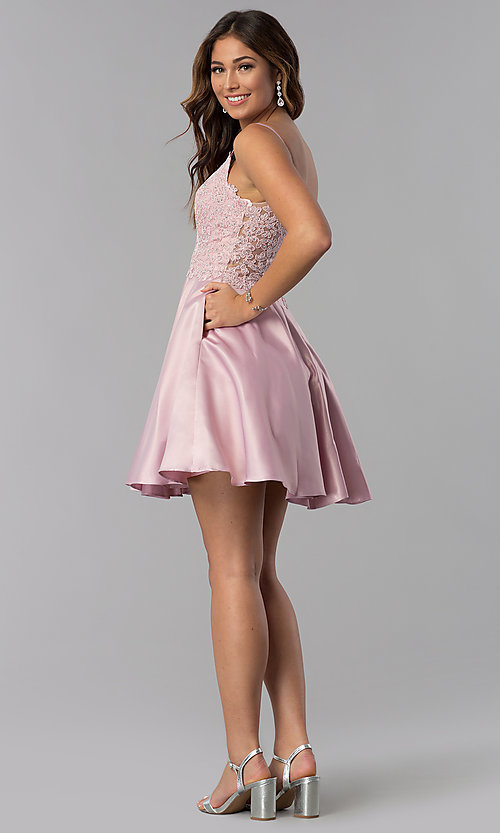 Image of short dusty rose pink homecoming dress with pockets. Style: DQ-3037dr Detail Image 2