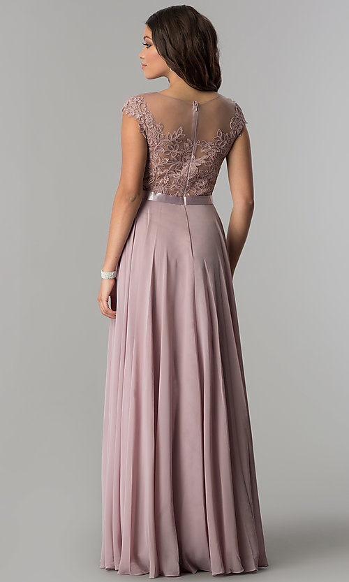 Image of long chiffon mocha prom dress with embroidery. Style: DQ-2121m Back Image