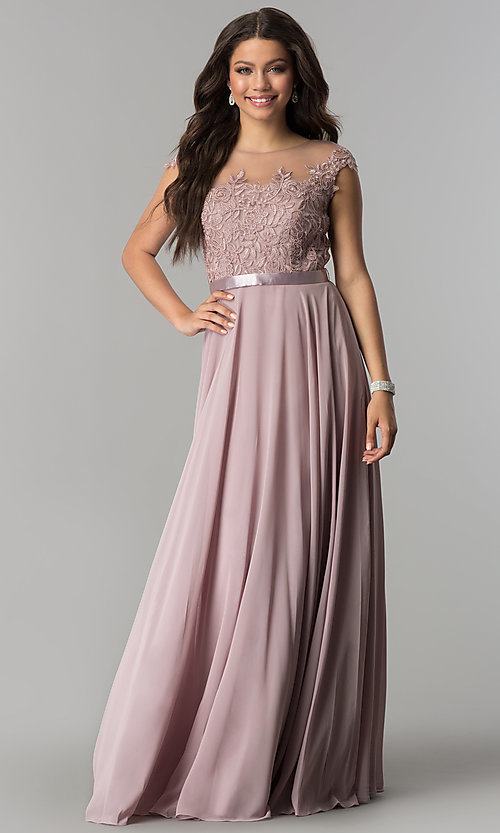 Image of long chiffon mocha prom dress with embroidery. Style: DQ-2121m Front Image