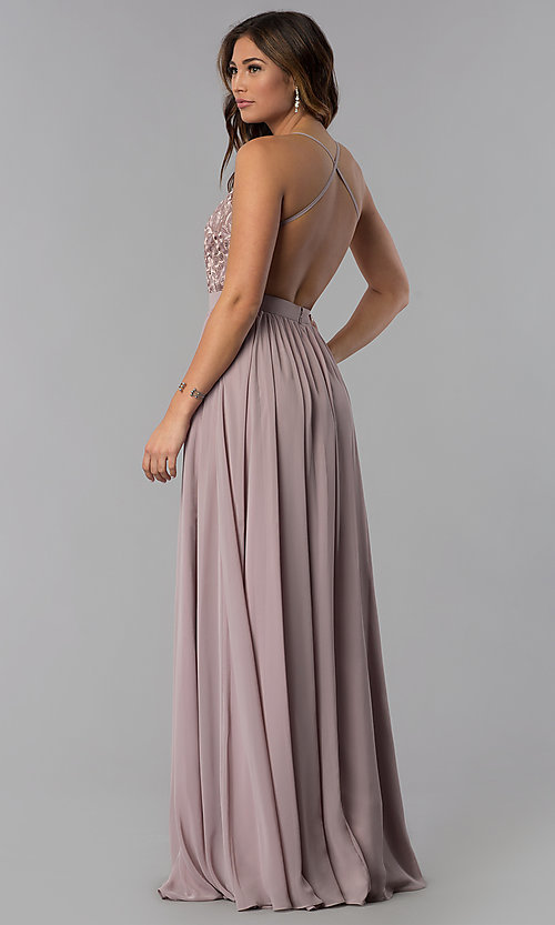 Image of long mocha chiffon prom dress with embroidery. Style: DQ-9850m Back Image