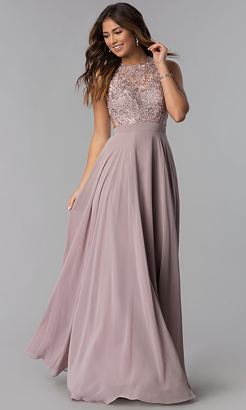 af8e348c90c5c Image of long mocha chiffon prom dress with embroidered lace. Style:  DQ-9851m