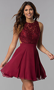 Image of short chiffon mocha purple homecoming party dress. Style: DQ-PL-3012m Detail Image 1