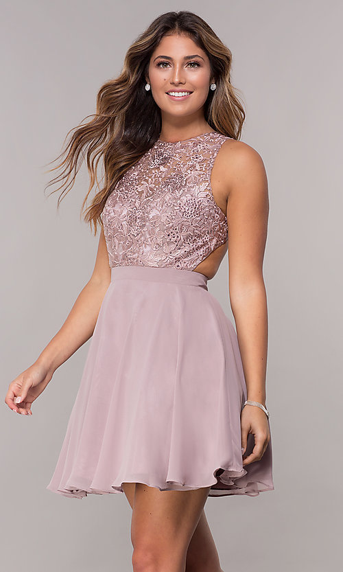 Image of short chiffon mocha purple homecoming party dress. Style: DQ-PL-3012m Front Image